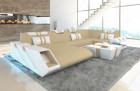 Fabric Leather Mix Sofa New Jersey U Shape beige - Mineva 4