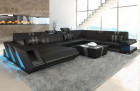 XL leathersofa New Jersey LED lights - black-grey