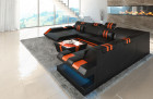 Modern Leather Sofa With LED Lights an USB Connection - black-orange