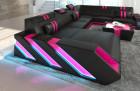 XL leathersofa New Jersey LED lightsD - black-pink