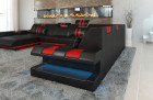 Leather Sofa New Jersey LED lights - black-red