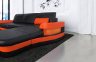 Modern Leather Sofa With LED Lights an USB Connection black-orange