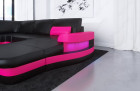 Design Sectional Sofa Tampa with USB Port - black-pink
