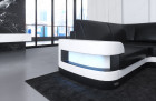 Design Sectional Sofa Tampa with USB Port - black-white