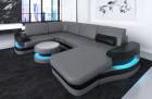 Modern Leather Sofa Tampa U Shape - grey-white