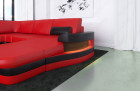 Modern Leather Sofa Tampa U Shape - red-black