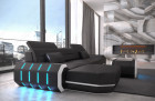 Modern Leather Sofa With LED Lights an USB Connection - black-white