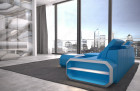 Modern Leather Sofa With LED Lights an USB Connection - blue-white