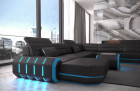 Modern Leather Sofa With LED Lights an USB Connection - black-blue