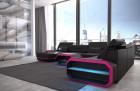 Design Leather Sofa Brooklyn - black-pink