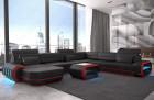 Leather Sofa Brooklyn LED lights - black-red