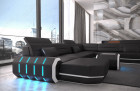 Leather Sofa Brooklyn LED lights - black-white