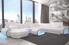 Modern Leather Sofa With LED Lights an USB Connection - white-beige