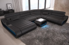 Luxury Leather Sectional Sofa Concept XXL with Recamiere - black