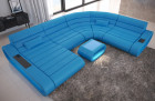 Modern Leather Sectional Sofa Concept XXL LED lights - blue