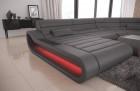 Modular Leather Sofa Concept XXL with Ottoman - grey
