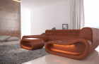 Design Leather Sectional Sofa Concept U Shape LED lights - brown