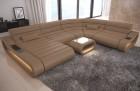 Modular Leather Sofa Concept XXL LED lights - sandbeige