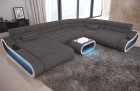 Design Sectional Couch Concept XXL with ottoman - grey Fabric Hugo 5