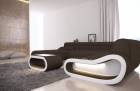 Design Sectional Sofa Concept LED lights - brown Fabric Hugo 8