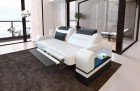 Two-seater sofa Orlando with optional relax function and LED lighting - white grey