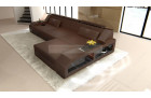 Modern Corner Sofa Houston in brown
