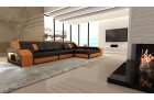Sectional leather sofa Houston L Shape black-orange