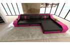 Designer Sofa Houston with LED Lights black-pink