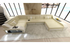 Sectional leather sofa Houston U Shape sandbeige-white