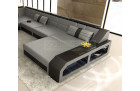 leather sofa Houston U Shape with LED grey-black