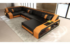 Sectional leather sofa Houston U Shape black-orange
