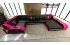 leather sofa Houston U Shape with LED black-pink