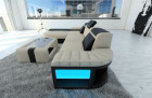 Mega Sectional Fabric Sofa Boston L with LED ivory - Hugo 1