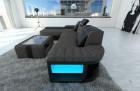 Modern Fabric Sofa Boston with LED Lights lightgrey - Hugo 5