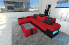 Modern Fabric Sofa Boston with LED Lights red - Microfaser 20