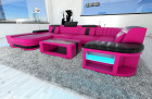 Design Sectional Sofa Boston LED U Shape pink-black