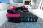 Luxury Sofa Boston with LED Lights black-pink