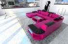 leather sofa Boston XL pink-black