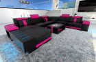 XL Design Sofa Boston with LED in black-pink