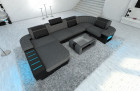 Big Fabric Sectional Sofa Boston U with LED lightgrey - Hugo 5