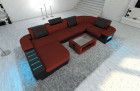 Modern Fabric Sofa Boston with LED darkred - Microfaser 20