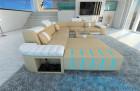leather sofa Boston XL sandbeige-white