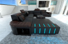 XL Sectional Sofa Boston LED U Shaped darkbrown-black