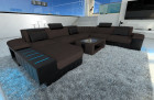 Modern Fabric Sofa Boston XL with LED Lights brown - Hugo 10