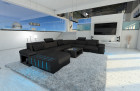 Modern Fabric Sofa Boston XL with LED Lights darkgrey- Hugo 12