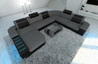 Luxury Fabric Sofa Boston XL with LED grey - Hugo 5