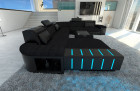 Luxury Fabric Sofa Boston XL with LED black - Mineva 14