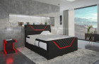 Leather box spring bed Nantes in Chesterfield design - black - red