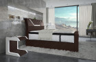 Box spring bed Nantes with LED lighting and USB - brown - white