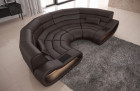 Luxury Sectional Sofa Concept U Shape with LED lights - dark-brown